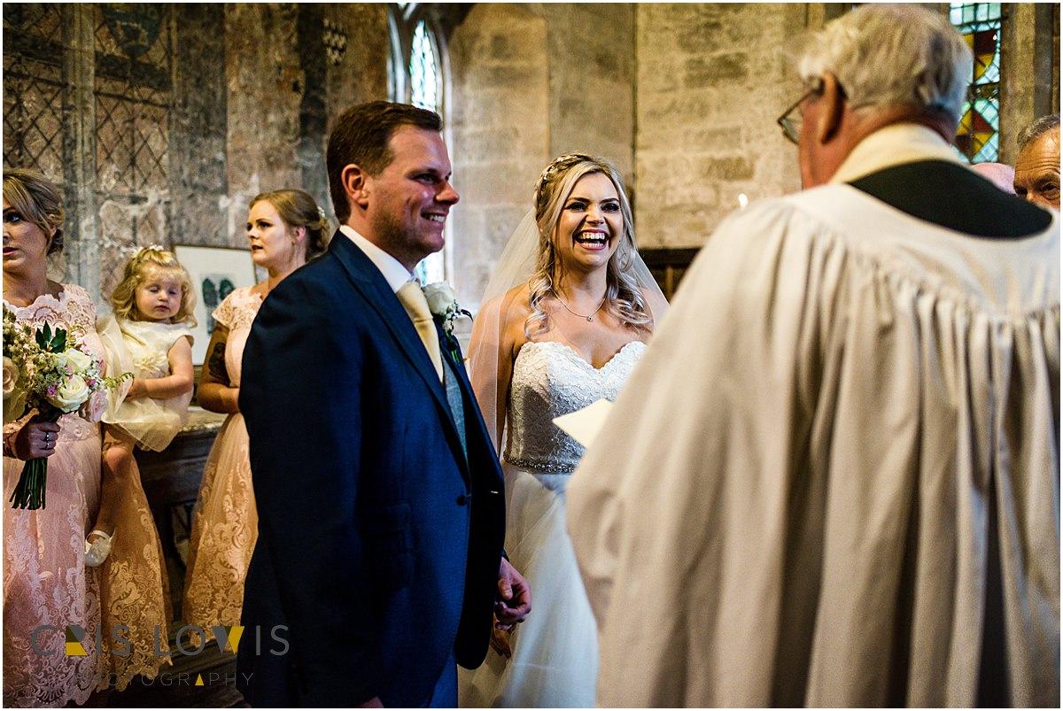 wedding ceremony at sandon church