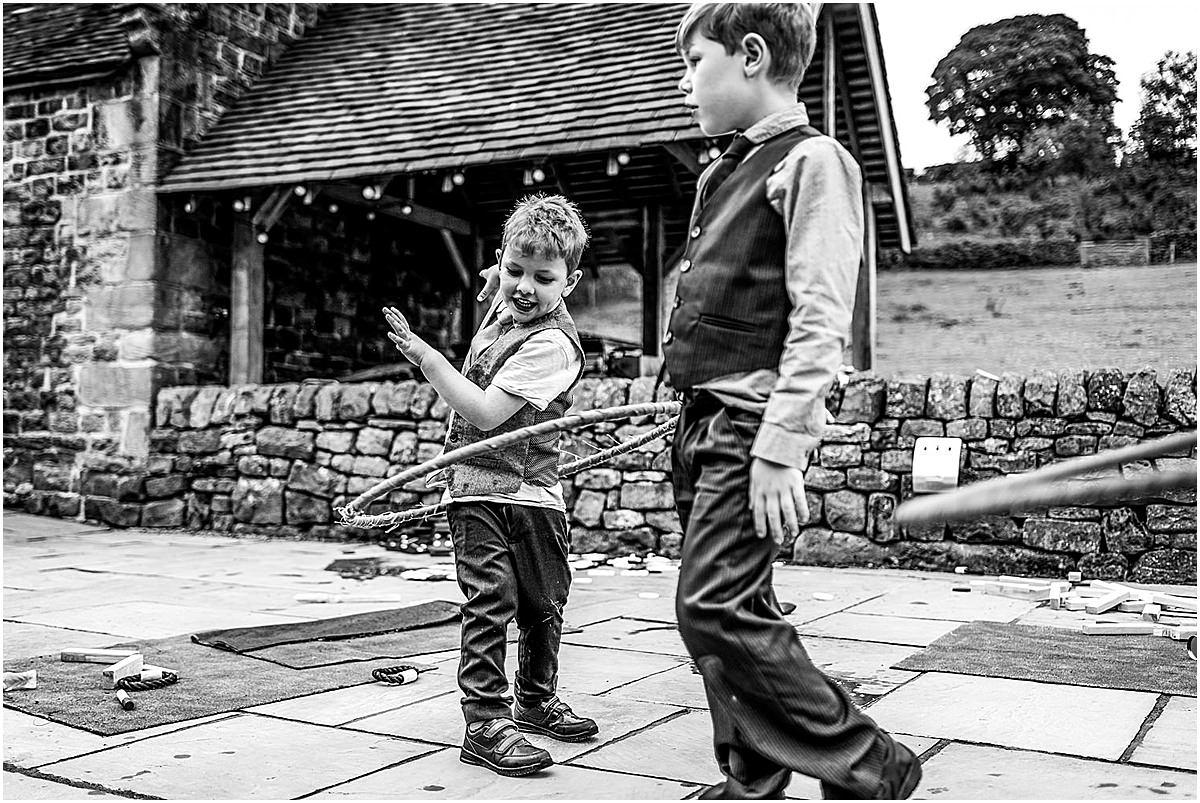 kids at wedding plying games