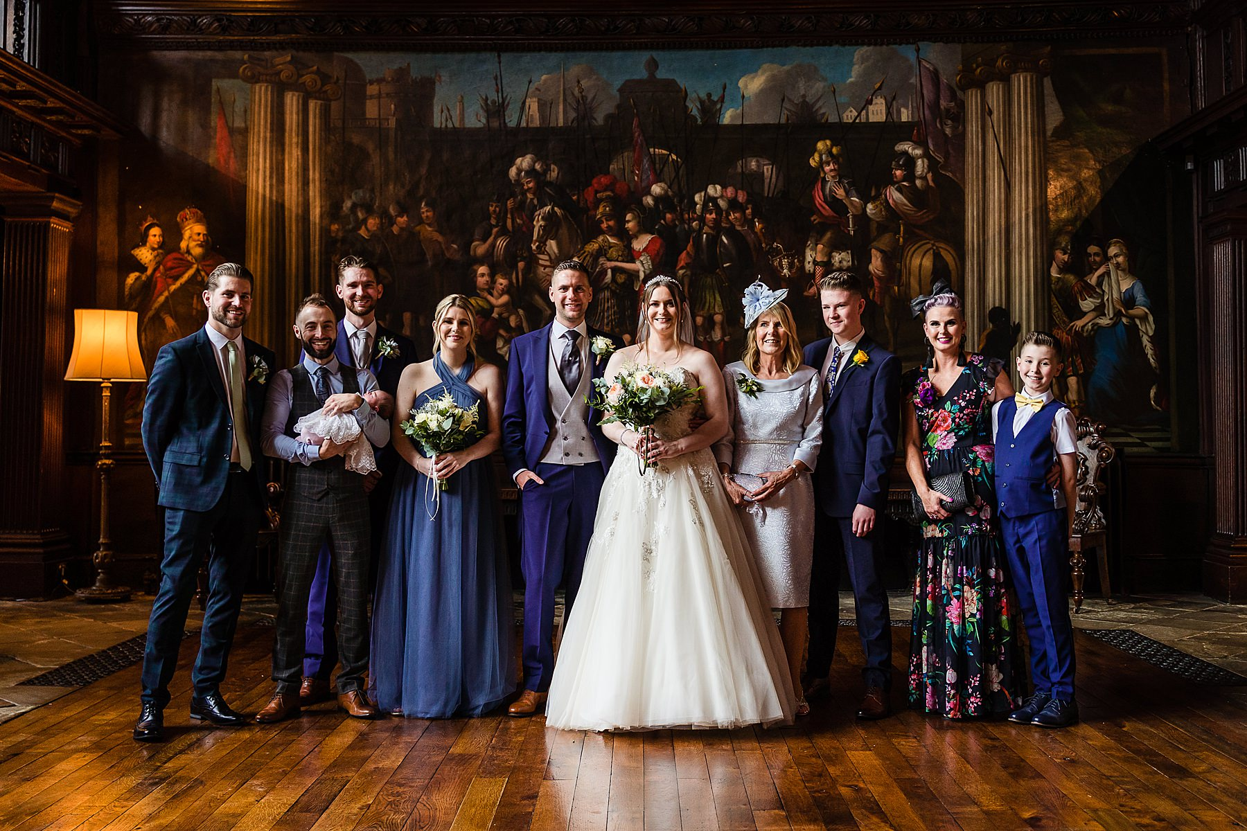 group photo in the great hall at adlington hall