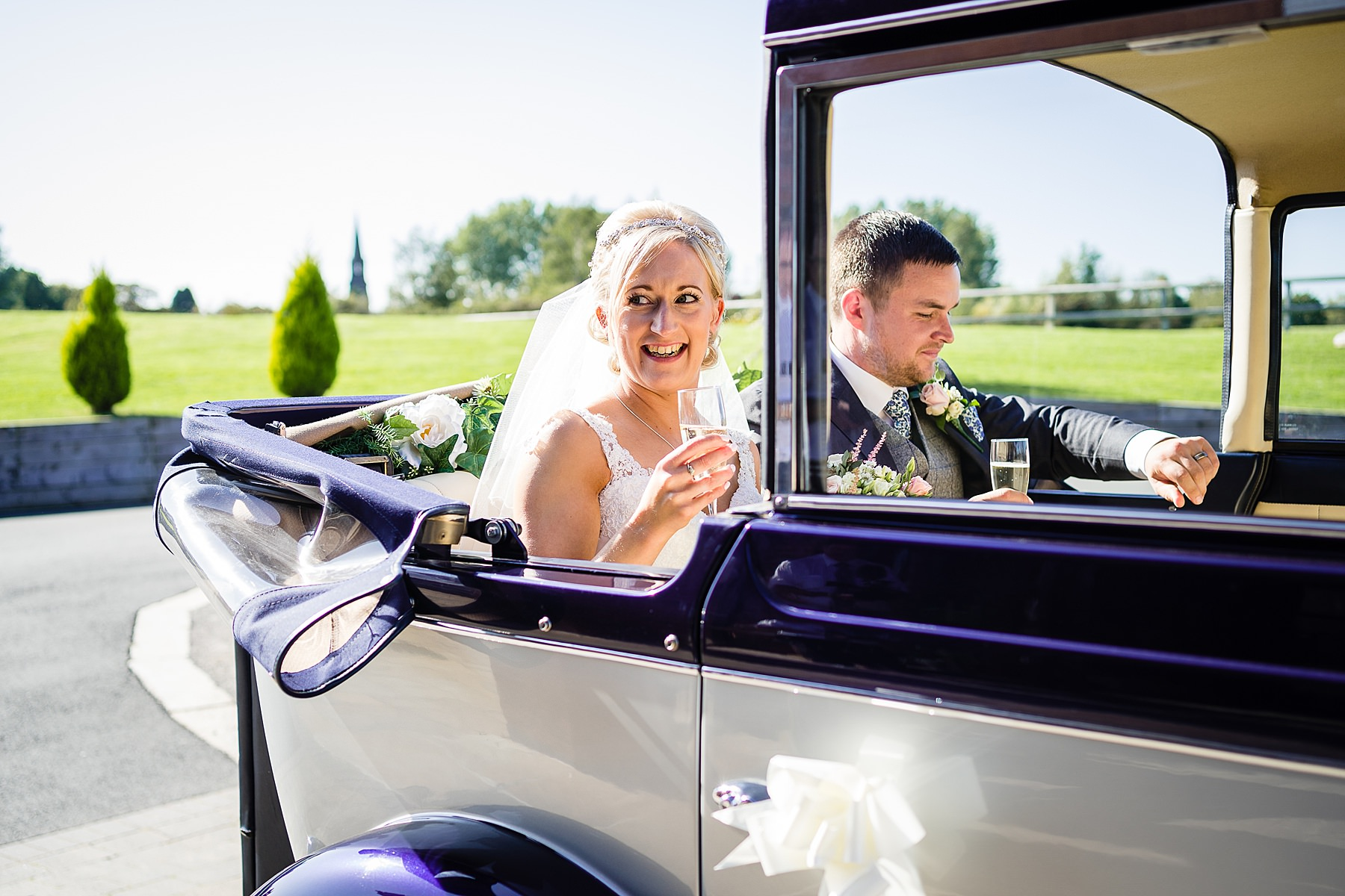 bride and groom arrive at aston marina