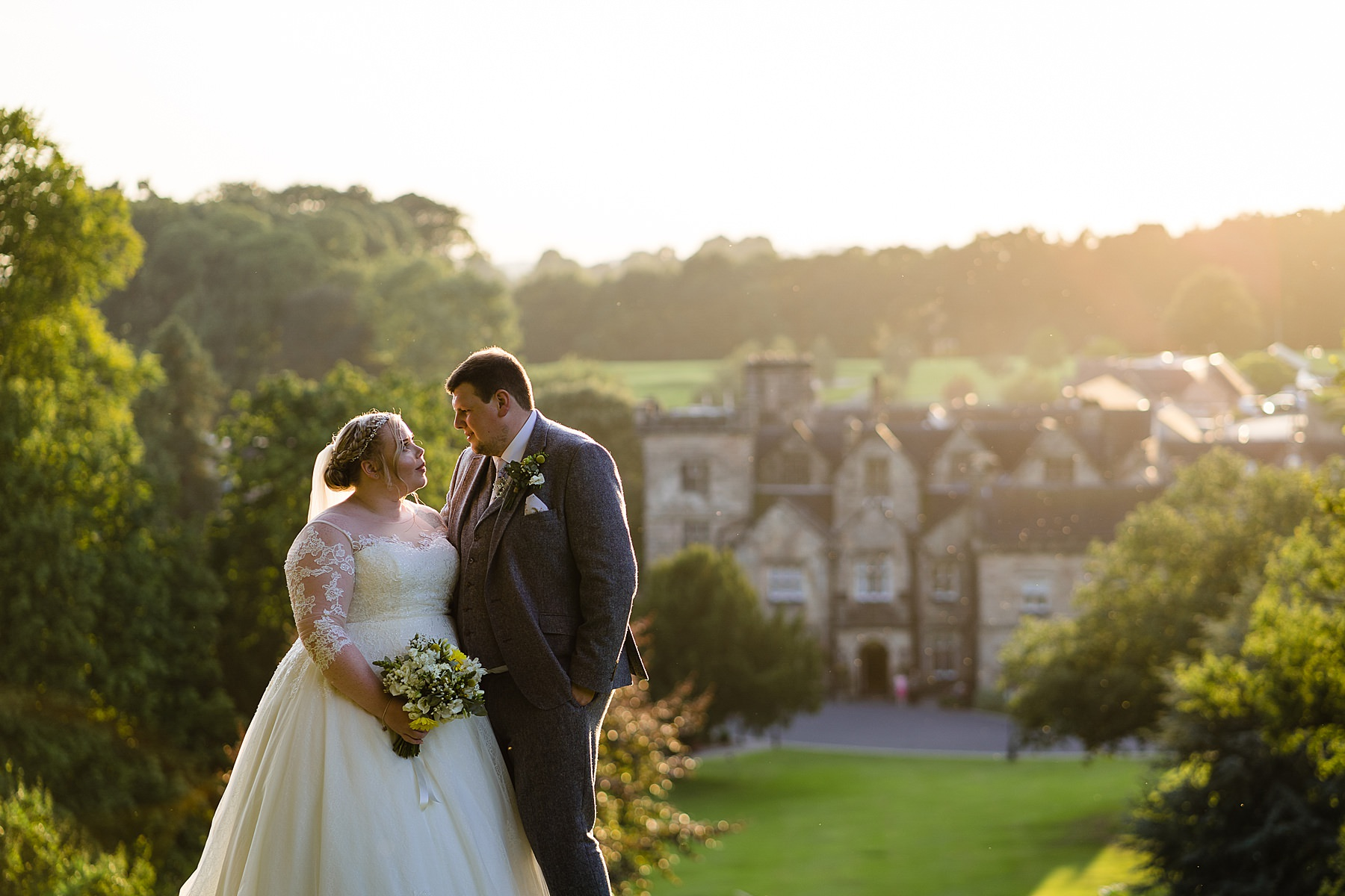 bride and groom evening photos at breadsall priory