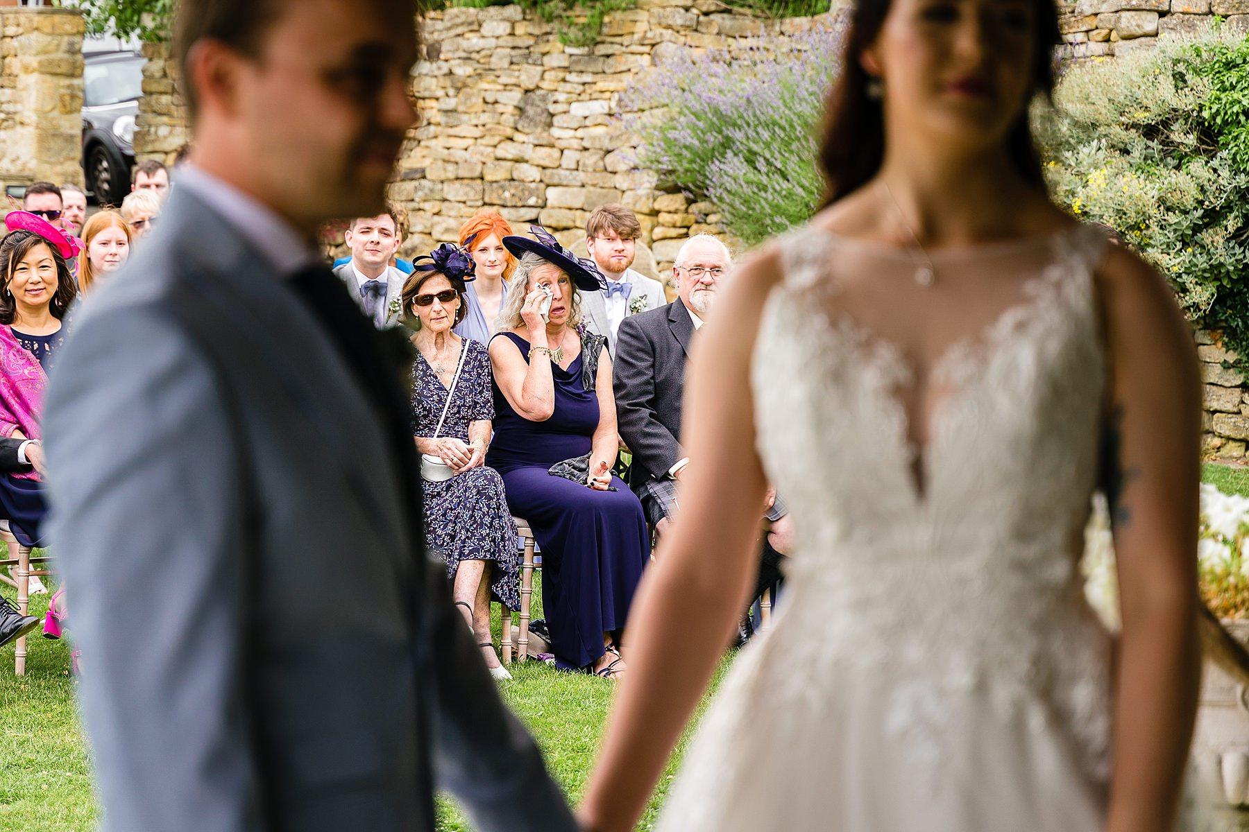 emotional mum at wedding