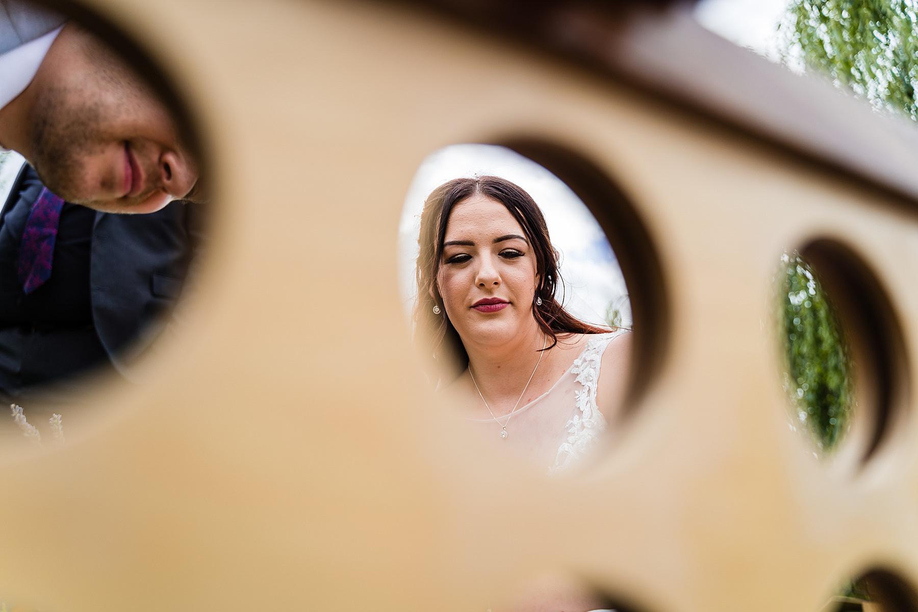 bride playing games at wedding