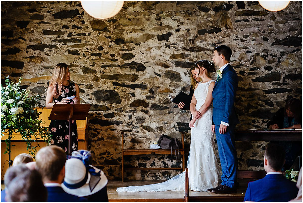 wedding ceremony at llyn gwynant barns