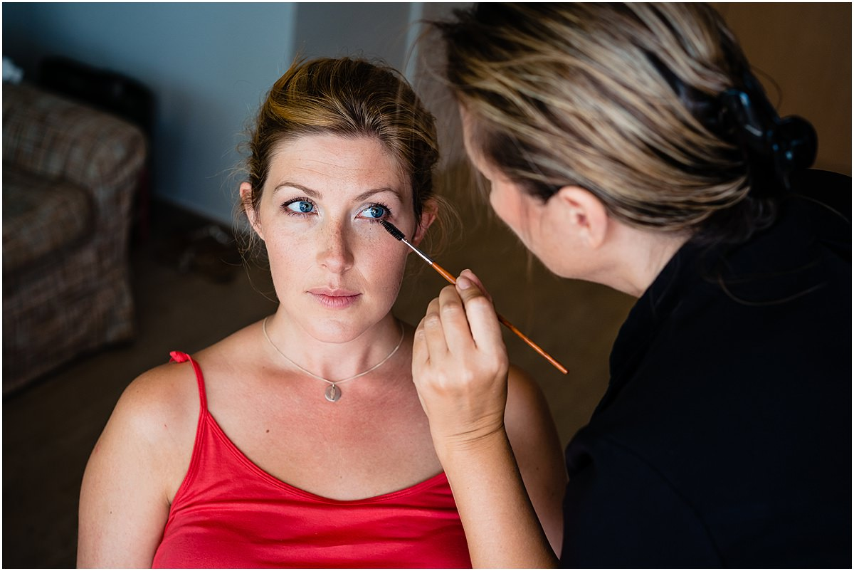 bridesmaid having make up done