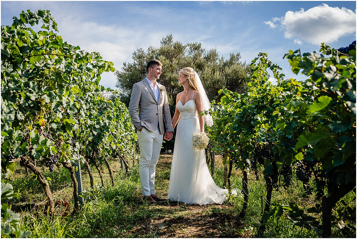 wedding photos amongst vines