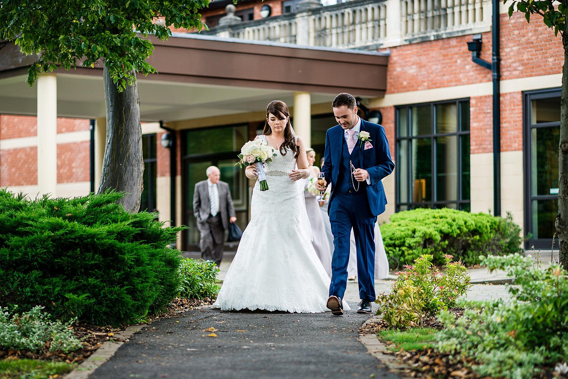 bride an groom walking