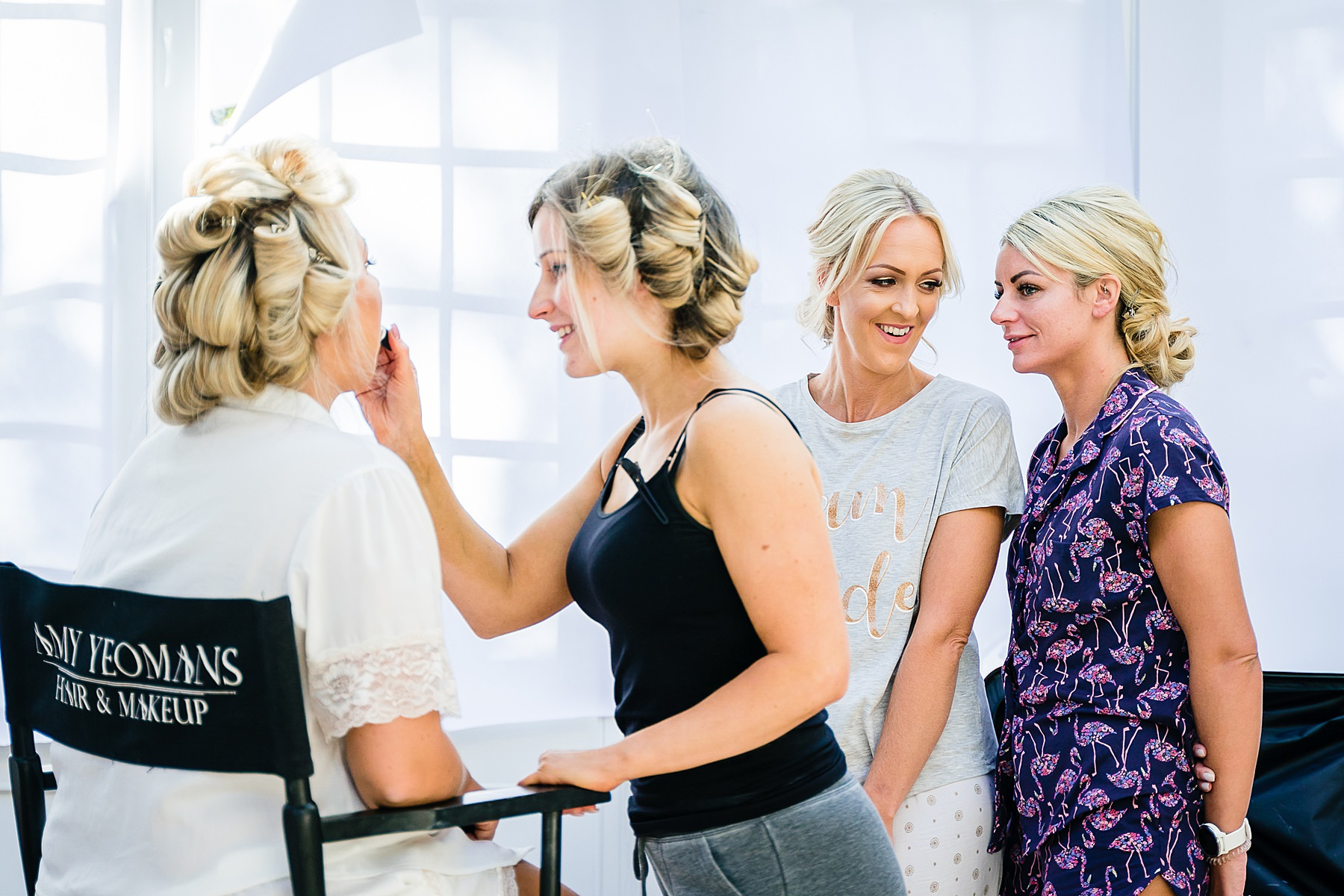 bridemaids having make up applied