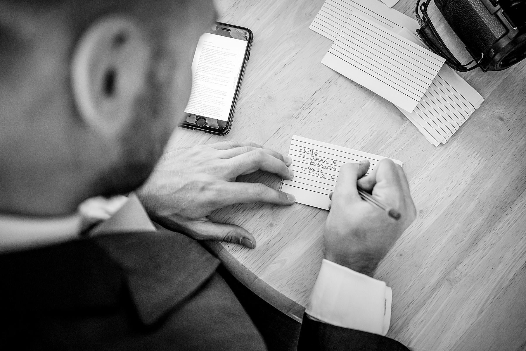 groom writing speech