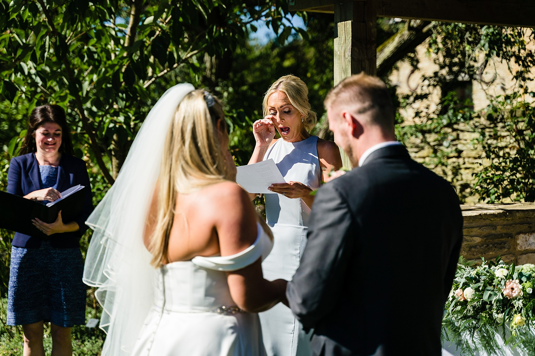 outdoor wedding ceremony at the great tythe barn