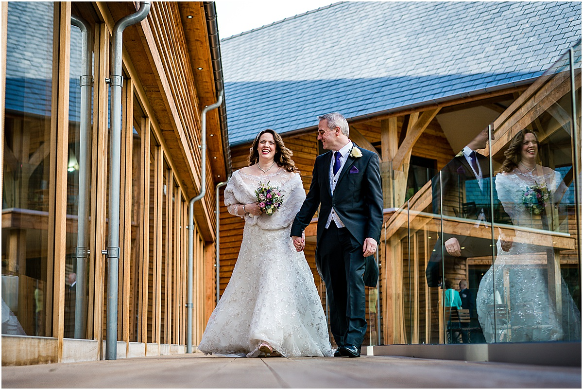 bride and groom at The Mill Barns