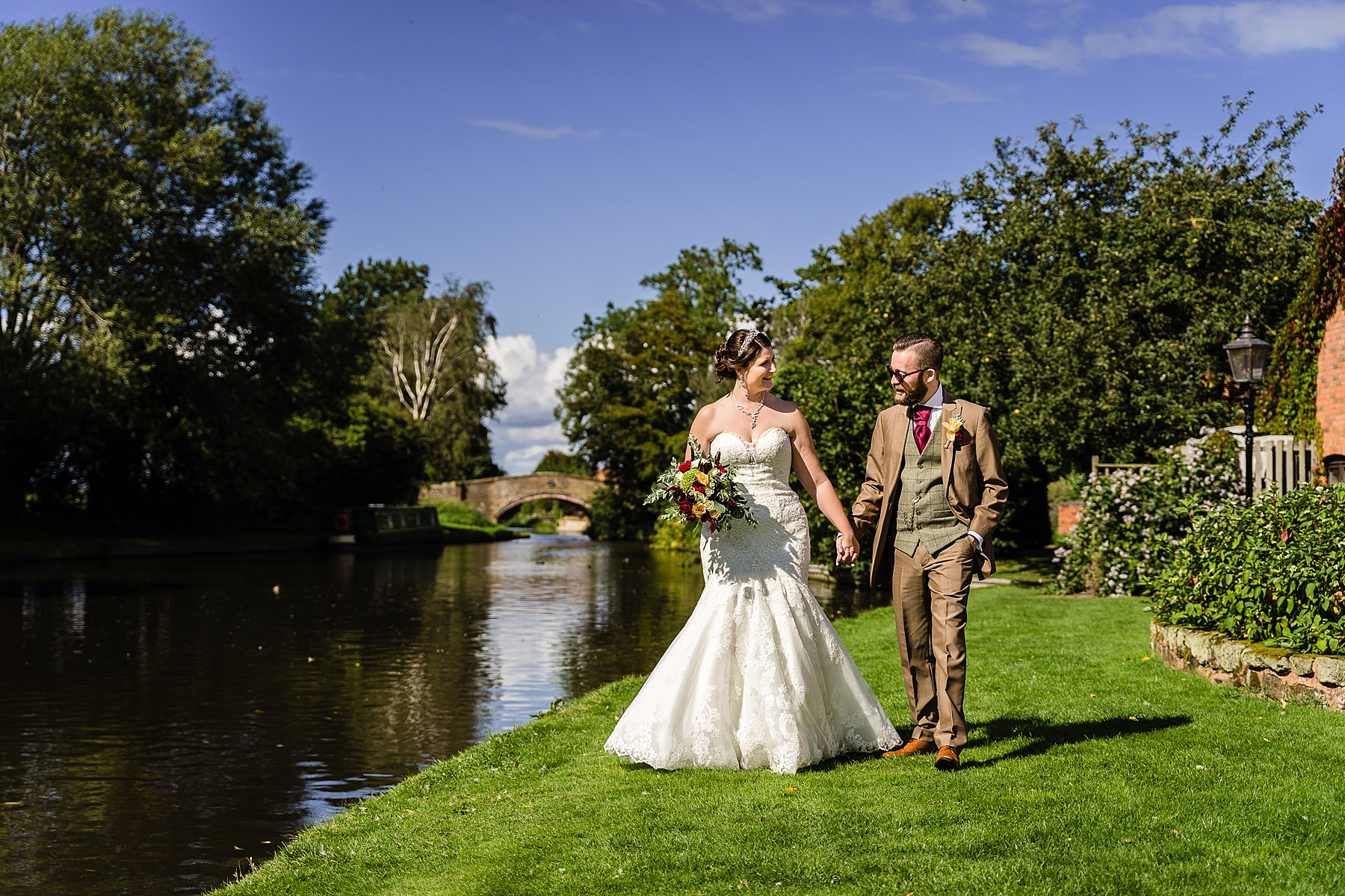 bride and groom photos at the moat house acton trussell