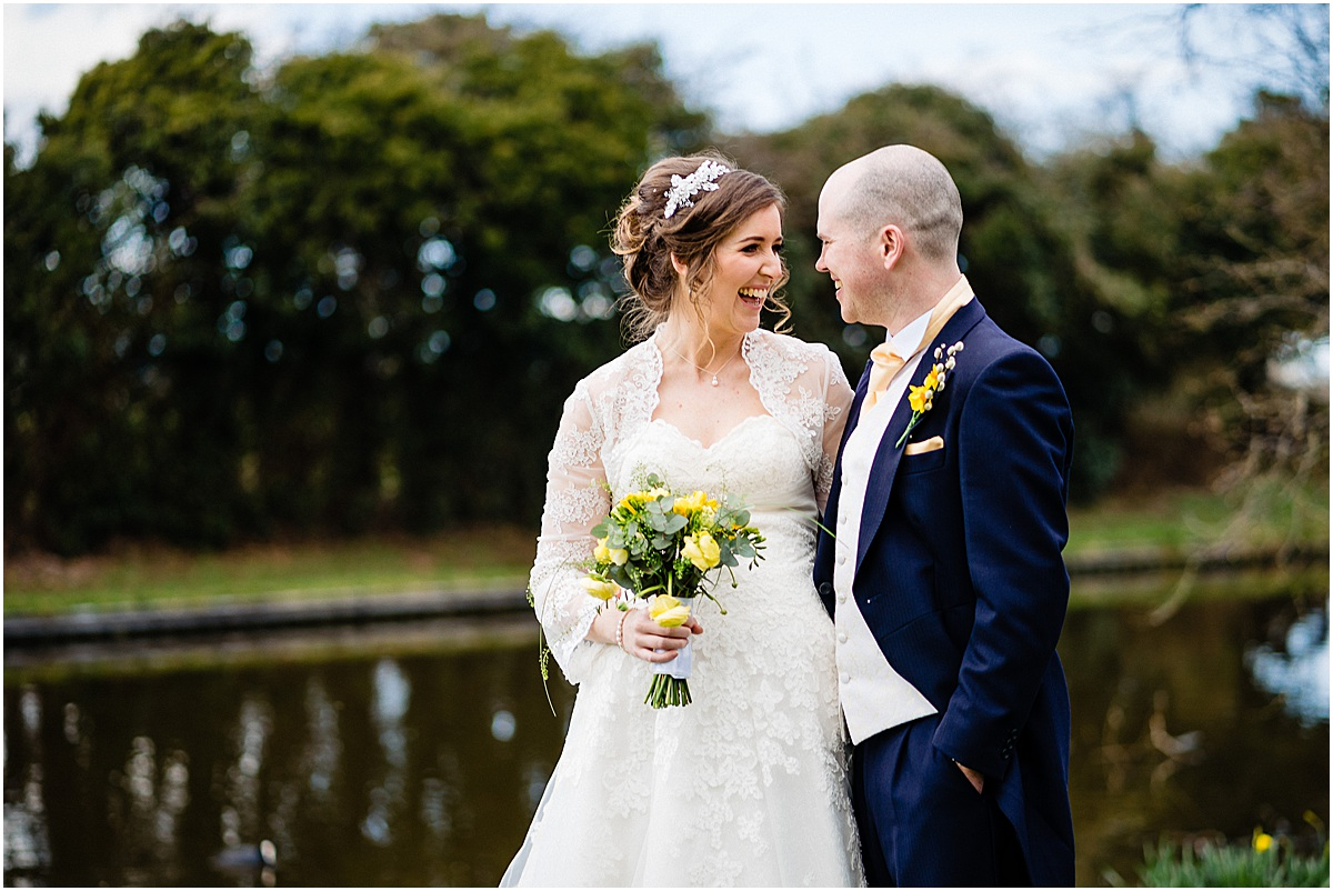 bride and groom photos at The moat house