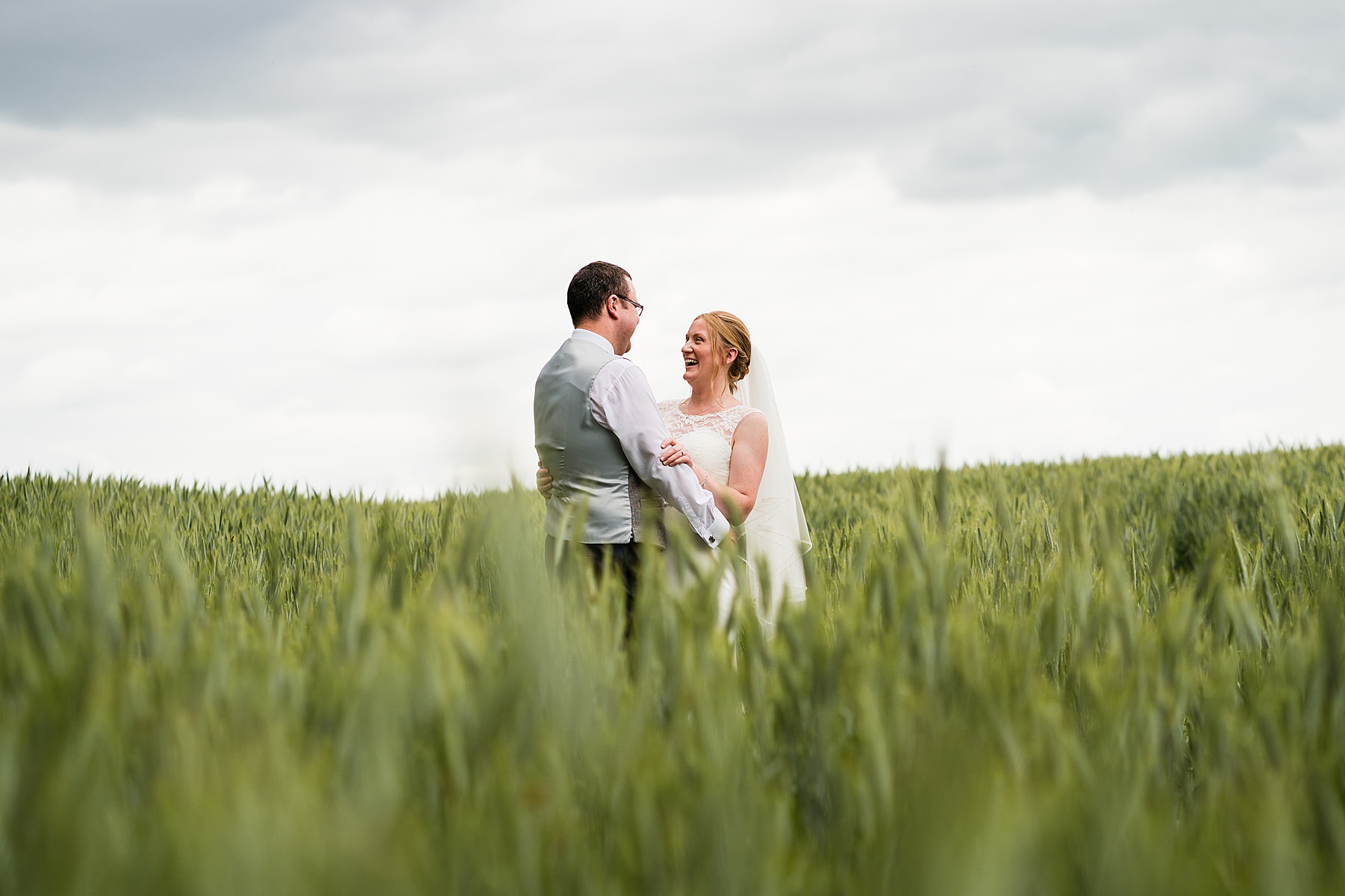 bride and groom portraits on farm
