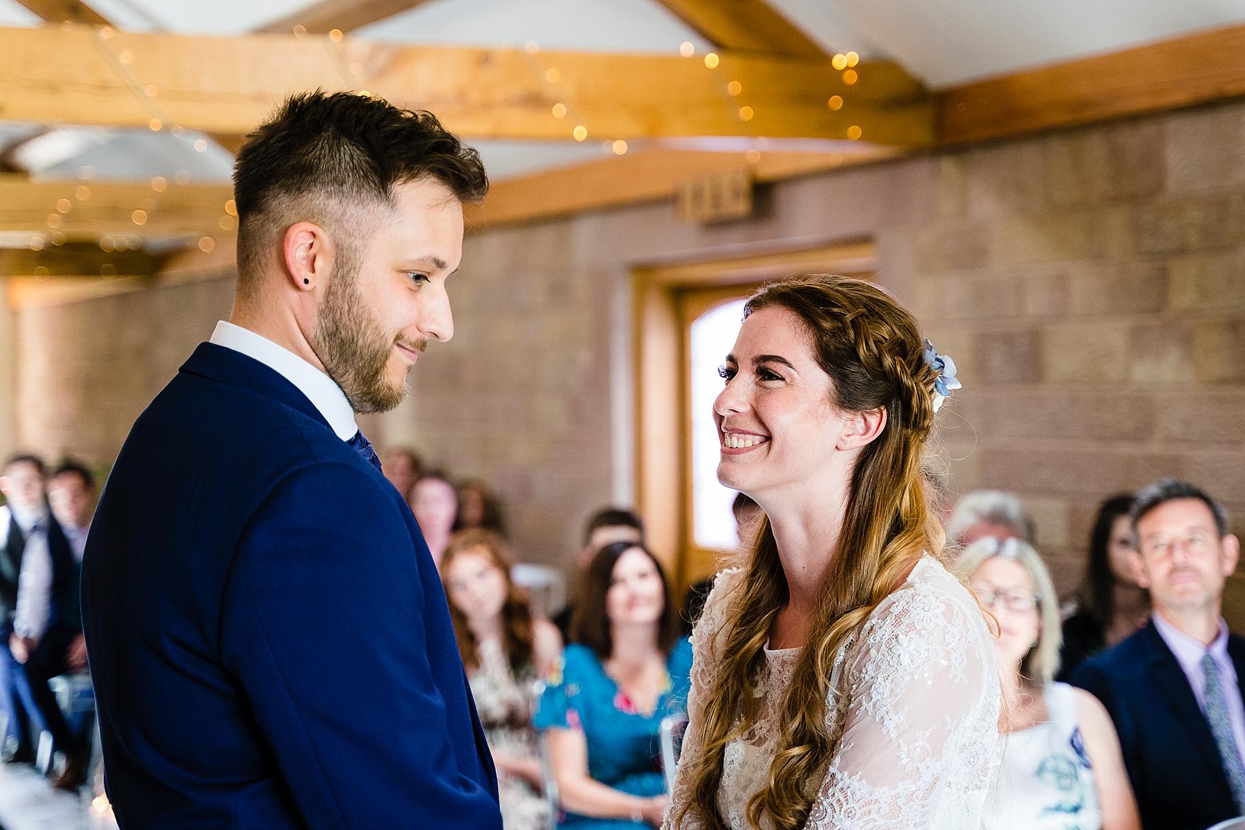 wedding ceremony at heaton house farm