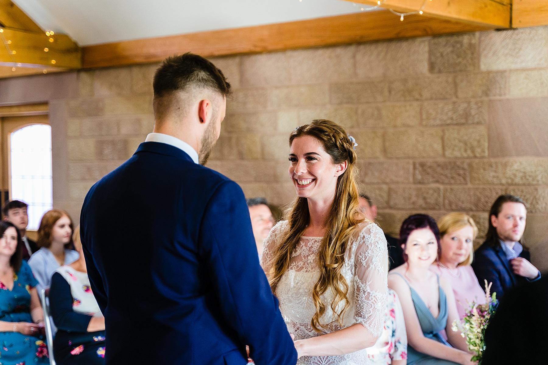 wedding ceremony in entrance barn