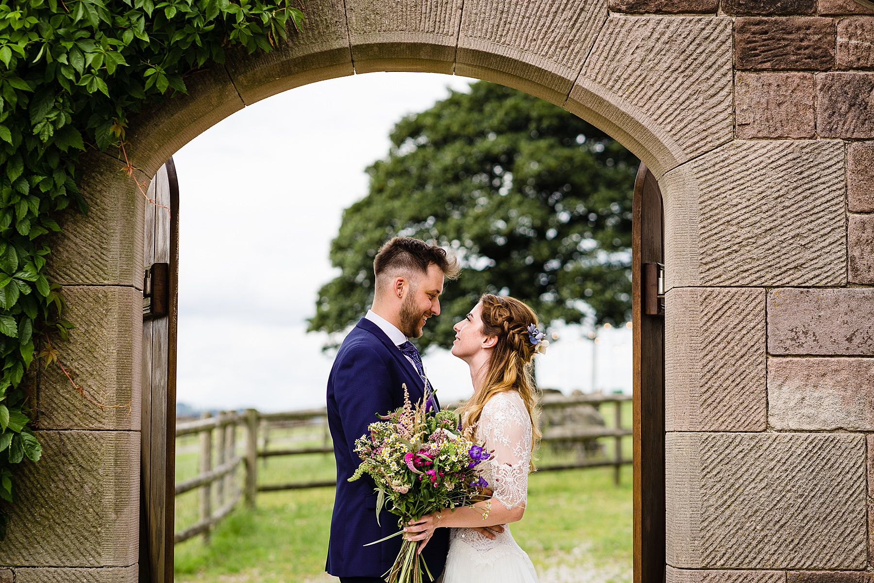 bride and groom portraits at heaton house farm