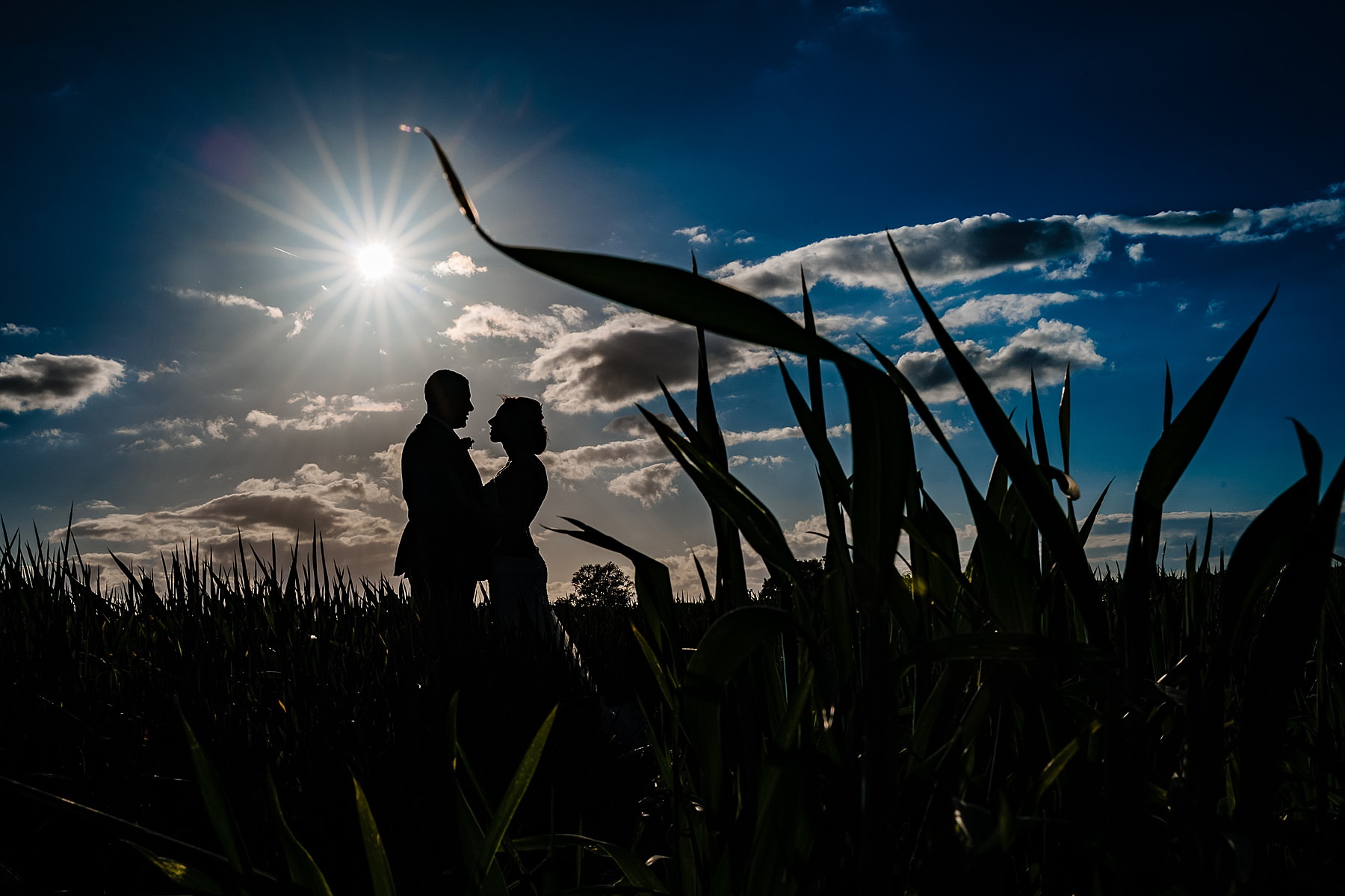 bride and groom sunset photo at the moat house acton trussell