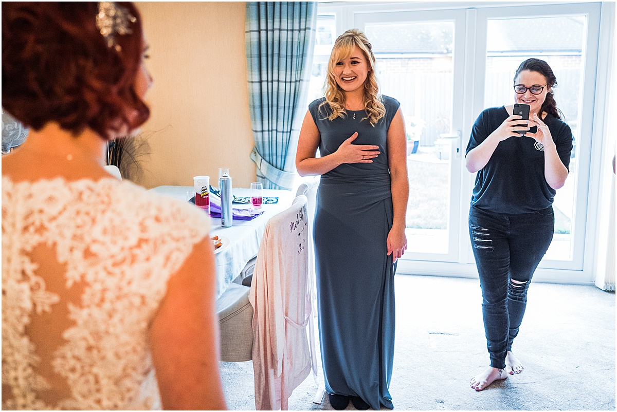 bridesmaid sees dress