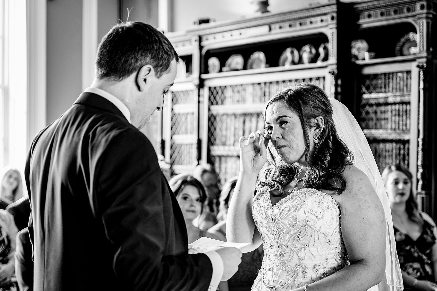 emotional bride wedding ceremony at prestwold hall