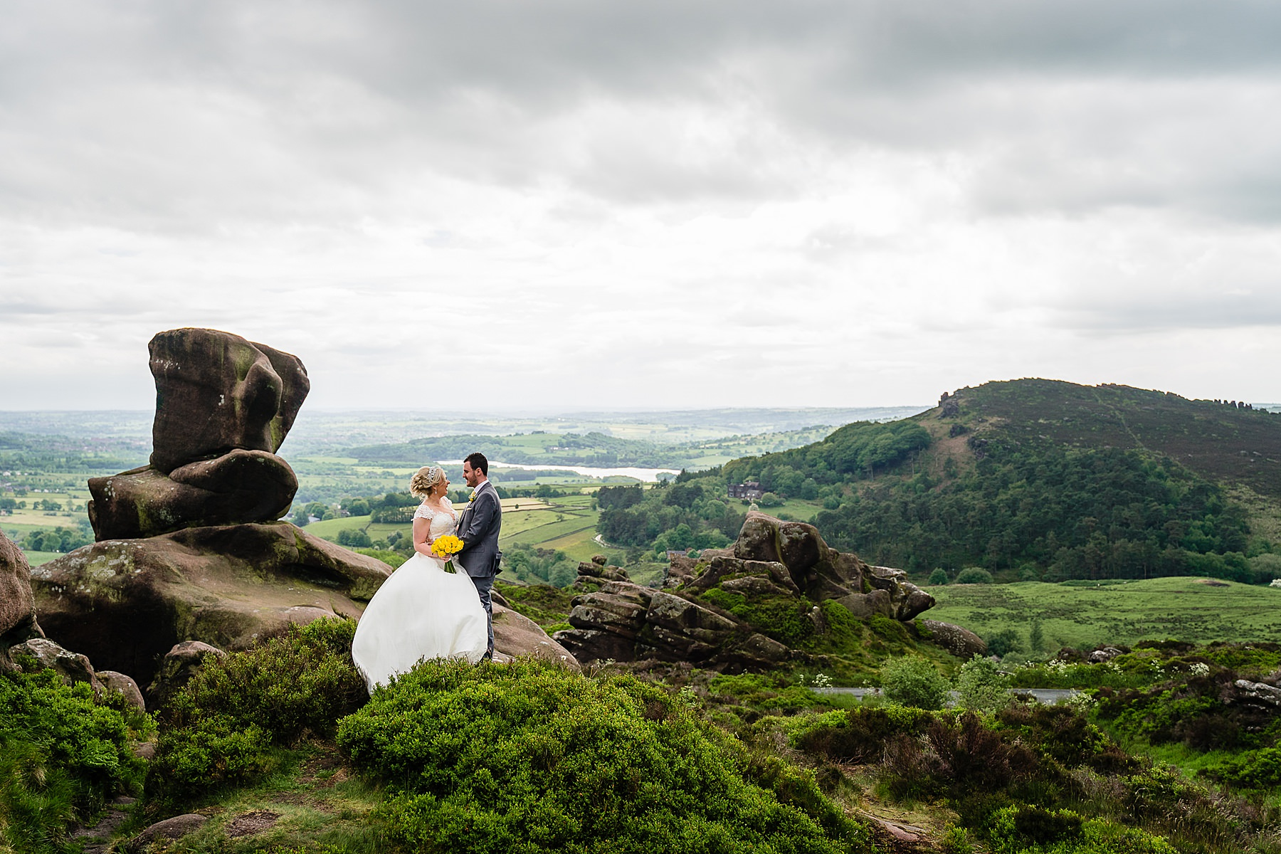 bride and groom portraits in the roaches