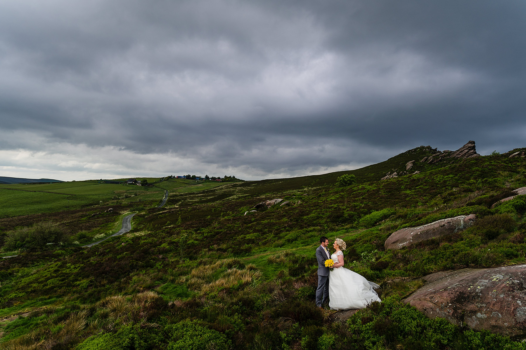 bride and groom photos in the roaches